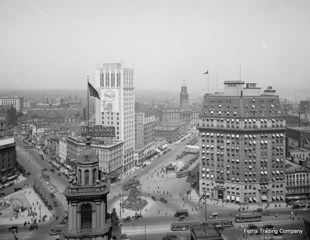 VINTAGE DETROIT SKYLINE GLOSSY POSTER PICTURE PHOTO classic old michigan d 2018
