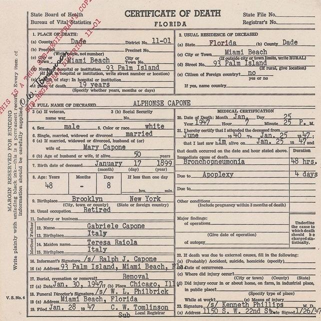 Al Capone Death Certificate 1947 Miami Beach Florida Etsy
