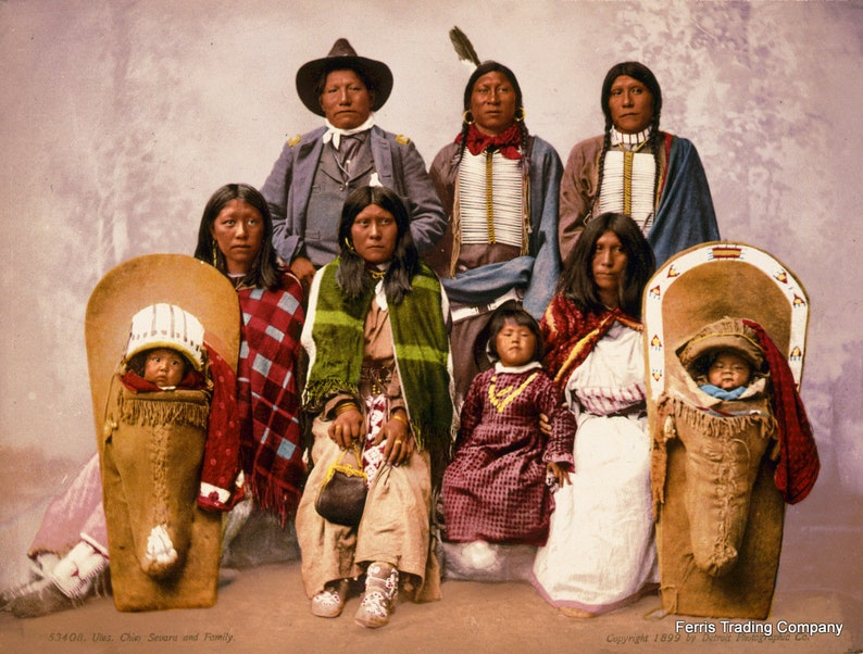 Print Vintage Utes Chief Severo and Family Photo Photograph Native American 1899