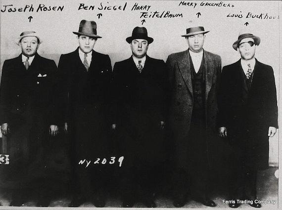 bugsy siegel mobster lineup 1930s joseph rosen harry etsy