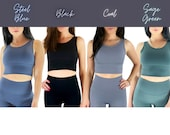 High Support Sports Bra in Black Blue Gray or Green, Yoga Bra, Sweat Wicking Work Out Apparel, Gym Workout Attire, Gift for her