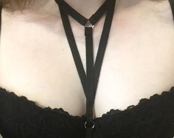 Black Goth Cage Body Harness Choker/Open Bra