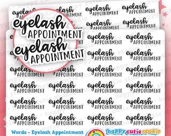 24 Cute Eyelash Appointment Words/Functional/Planner Stickers, Filofax, Erin Condren, Happy Planner, Kawaii, Cute Sticker, UK