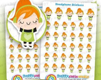 35 Cute Headphones/Music/Mindfulness Girl Planner Stickers, Filofax, Erin Condren, Happy Planner,  Kawaii, Cute Sticker, UK