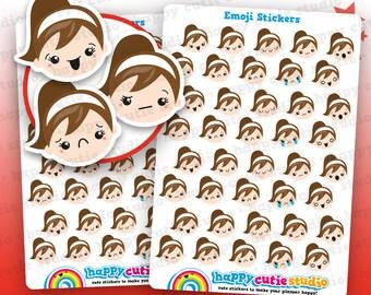 40 Cute Emoji/Emotion/Mood Girl Planner Stickers, Filofax, Erin Condren, Happy Planner,  Kawaii, Cute Sticker, UK