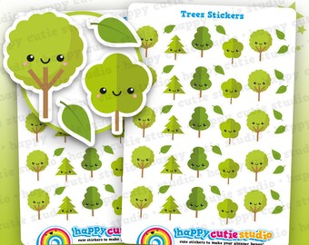 25 Cute Tree/Forest/Camping/Wood Planner Stickers, Filofax, Erin Condren, Happy Planner,  Kawaii, Cute Sticker, UK