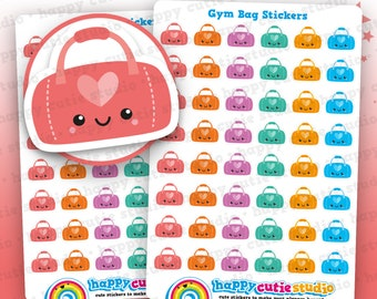 48 Cute Gym Bag Planner Stickers, Filofax, Erin Condren, Happy Planner,  Kawaii, Cute Sticker, UK