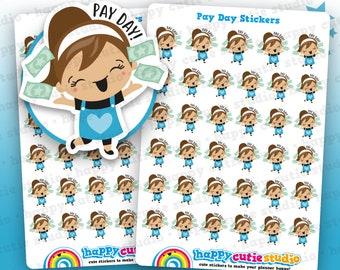 35 Cute Pay Day/Payday/Money Girl Planner Stickers, Filofax, Erin Condren, Happy Planner,  Kawaii, Cute Sticker, UK