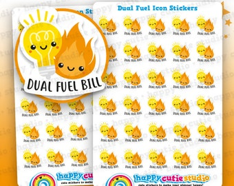 30 Cute Dual Fuel Bill Icons/Pay Bill/ Bills Reminder Planner Stickers