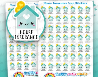 49 Cute House Insurance Bill Icons/Pay Bill/ Bills Reminder Planner Stickers