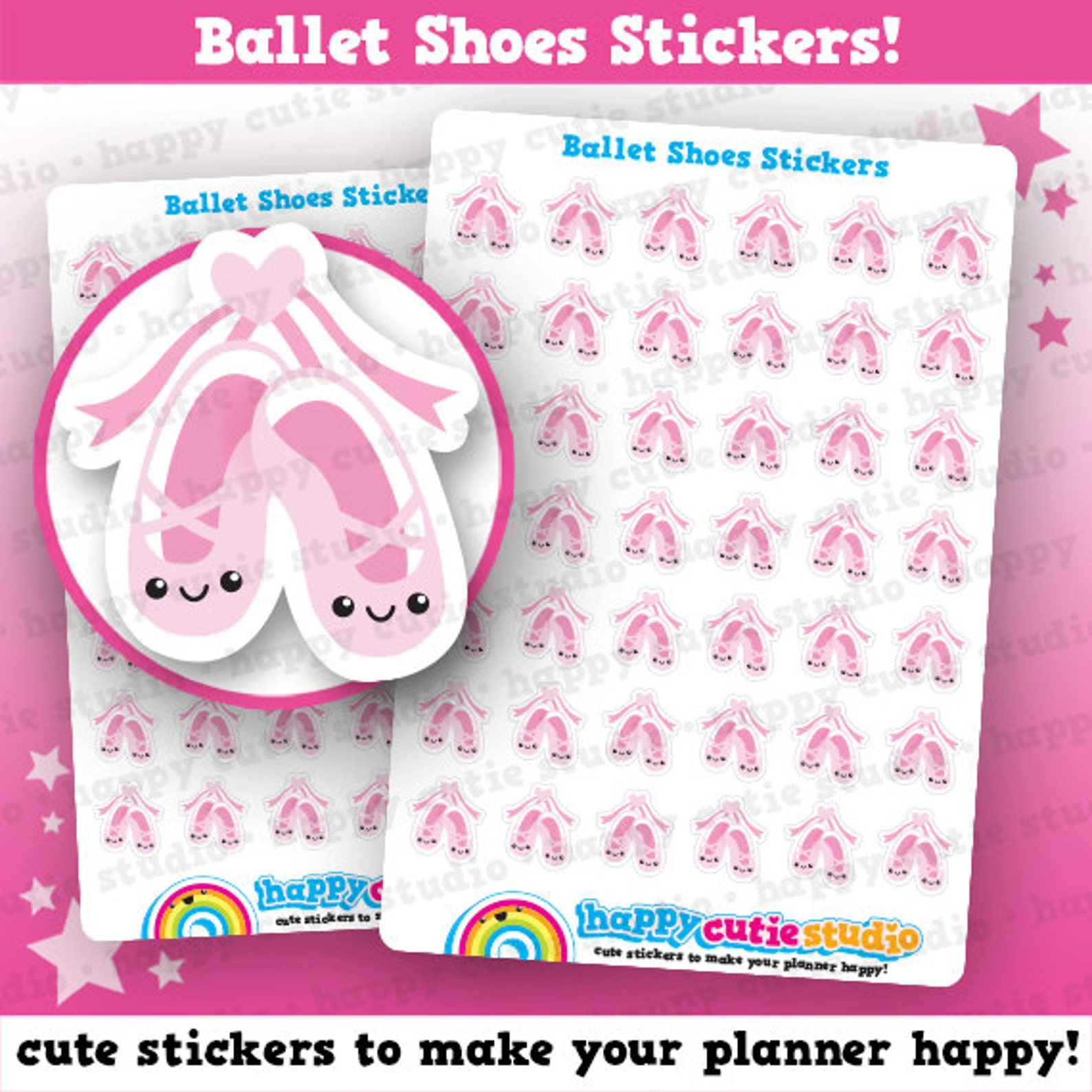 42 cute ballet shoes/lesson planner stickers, filofax, erin condren, happy planner, kawaii, cute sticker, uk