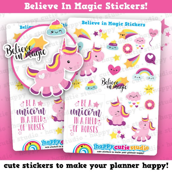 The Paper Studio Package of UNICORNS or BELIEVE IN MAGICStickers You Choose