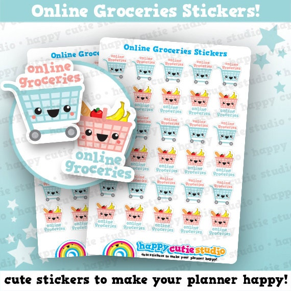 30 cute online groceries shopping food planner stickers etsy