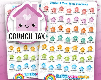 49 Cute Council Tax Icons/Pay Bill/ Bills Reminder Planner Stickers