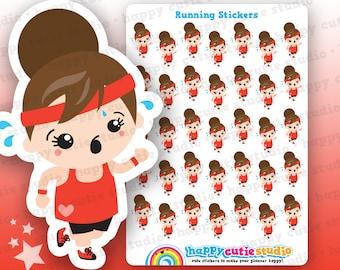 35 Cute Running/Exercise Girl Planner Stickers, Filofax, Erin Condren, Happy Planner,  Kawaii, Cute Sticker, UK
