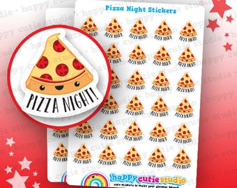 30 Cute Pizza Night Planner Stickers, Filofax, Erin Condren, Happy Planner, Kawaii, Cute Sticker, UK