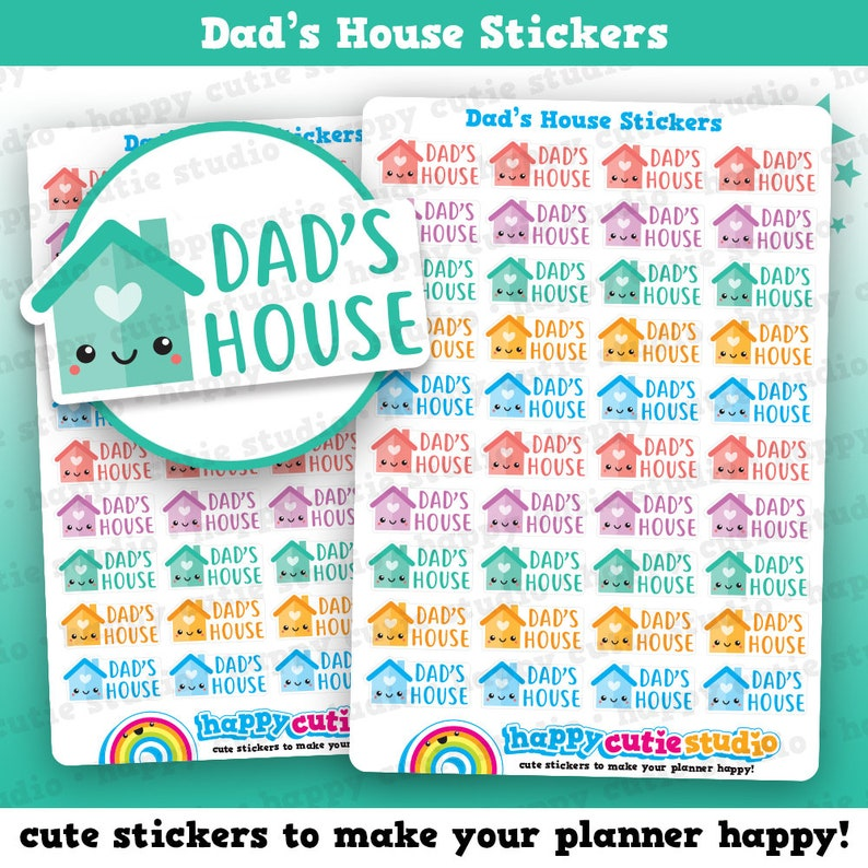 40 Cute Dad's House/Dad Day/Daddy/Daddies Planner Stickers image 0