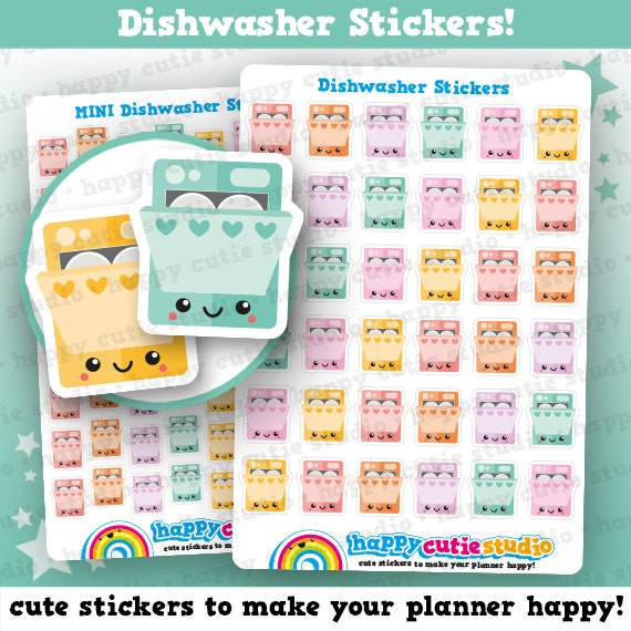 36 cute dishwasher chores planner stickers filofax erin