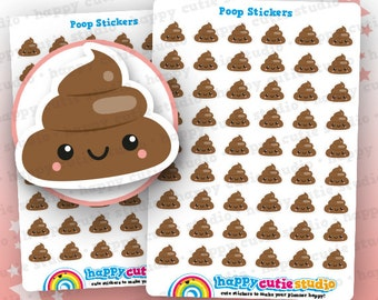 48 Cute Poop Planner Stickers, Filofax, Happy Planner, Erin Condren, Kawaii, Cute Sticker, UK