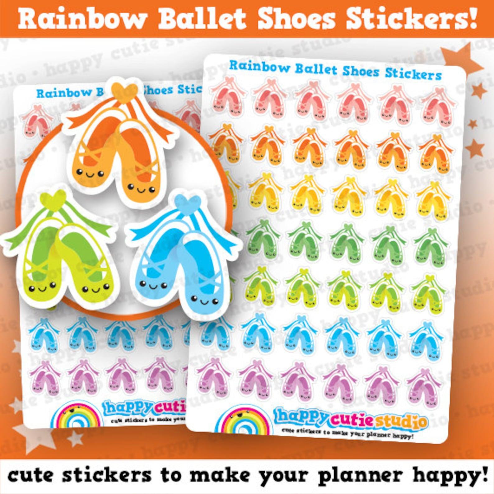 42 cute rainbow ballet shoes/lesson planner stickers, filofax, erin condren, happy planner, kawaii, cute sticker, uk