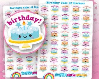 40 Cute Birthday Cake #2 Planner Stickers