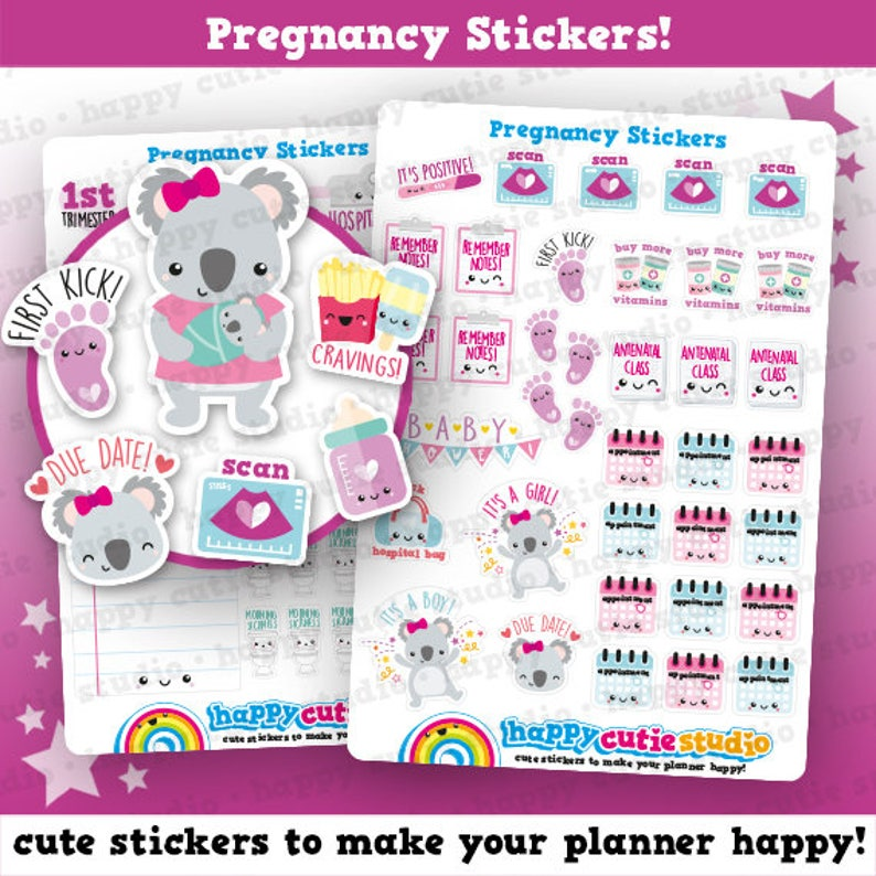 66 Cute Pregnancy/Pregnant/Baby Planner Stickers image 0