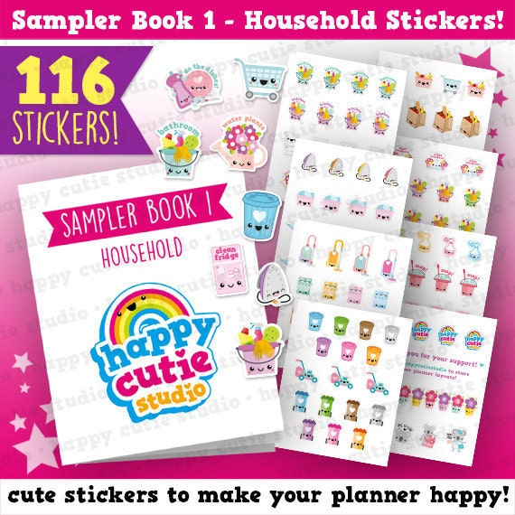 sampler book 1 household chores planner stickers filofax etsy