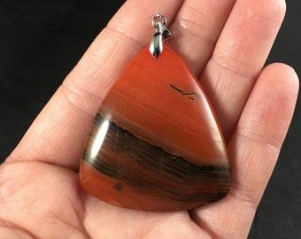 Triangular Brown and Orange Stone Pendant Necklace
