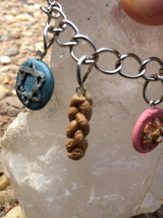 Chai charm bracelet,chai,challah,jewish gifts,judaism,mini food,charm bracelet,star of david,hanukkah Judaica
