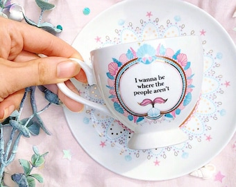 Antisocial Mermaid Teacup and Saucer