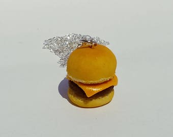 Cheeseburger Necklace and Charm- Handmade Polymer Clay Jewelry