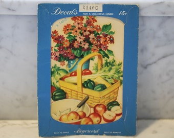 Vintage Meyercord Co Decal -- Fruits and Basket with Flowers