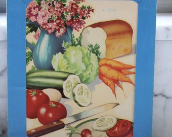Vintage Meyercord Co Decal -- Veggies and Bread with Flowers  in a vase