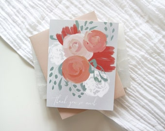 FLORAL THANK YOU Card, Greeting Card, Thank You Card, Stationery, Card, Thank You, Paper Goods,