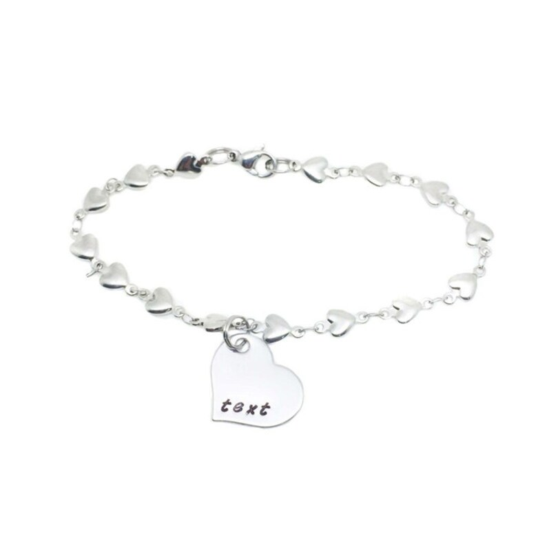 Heart Charm Bracelet Personalized Bracelet Hand Stamped Jewelry Handstamped Personalized Jewelry Mom Gifts Heart Bracelet