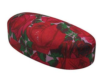 Rachel Rowberry Vintage Rose Medium Sunglasses Case with printed microfiber cleaning cloth