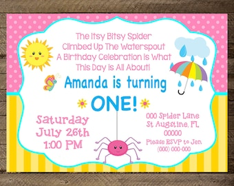 Itsy Bitsy Spider Birthday Theme Bitty Invite First Girls Nursery Rhyme Invitation 2nd
