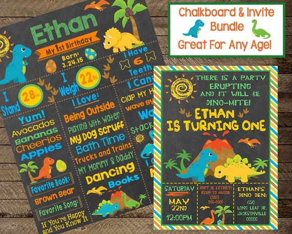 Dinosaur Birthday Chalkboard Invite