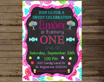 Candy Invite, Candy invitation, candy theme birthday invite, candy birthday invite, candy first birthday, candyland, lollipop birthday, 1st