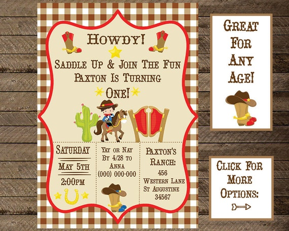 cowboy invite cowboy invitation cowboy theme birthday boys etsy