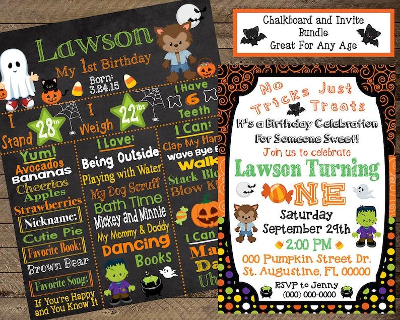 Halloween First Birthday Chalkboard Invite