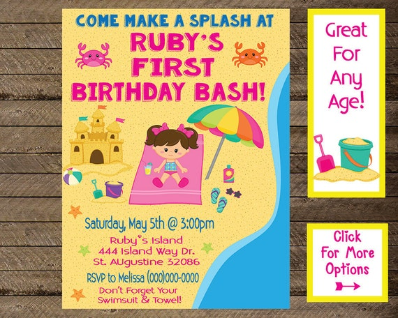 Girls Beach Invite Birthday Invitation