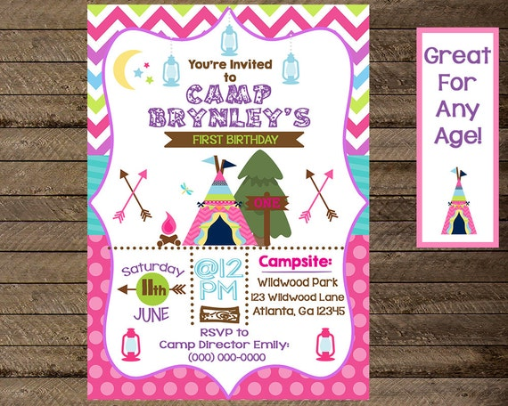 Camping birthday invitation girls camping invite etsy image 0 filmwisefo