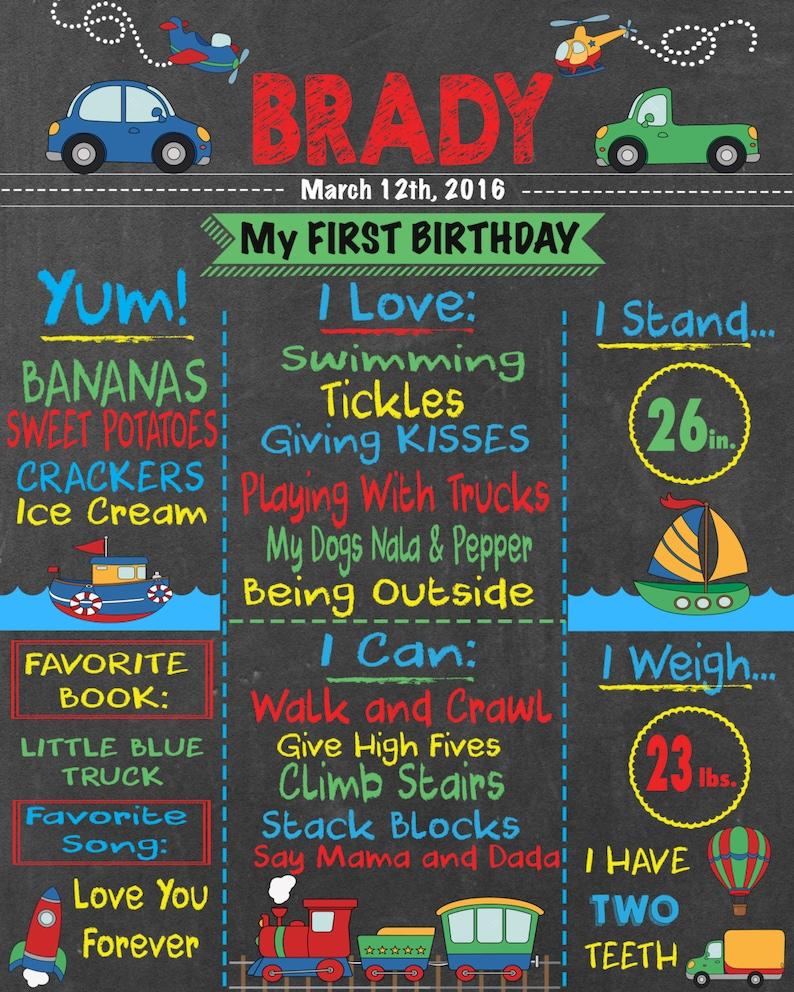 Boy/'s Birthday Chalkboard Sign Transportation Theme Birthday First Birthday trains Boy/'s Transportation Birthday cars boats Trucks