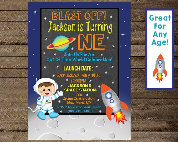 Space Invite Invitation Boy First Birthday