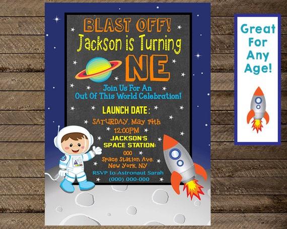 space invite space invitation boy first birthday invite etsy