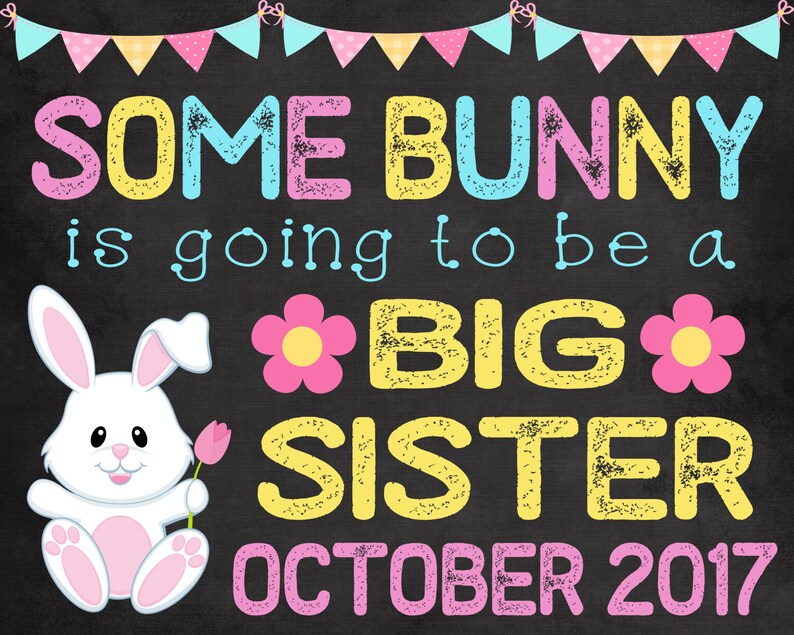 sister pregnancy announcement easter chalkboard pregnancy reveal baby big sister announcement Easter pregnancy announcement 2 bunny