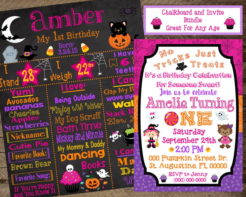 Halloween First Birthday Chalkboard Invite