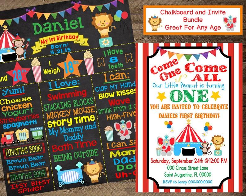 Circus Birthday Chalkboard First Birthday Circus Circus Invite Circus Birthday Party Circus Theme Circus Second Bday Circus Chalkboard