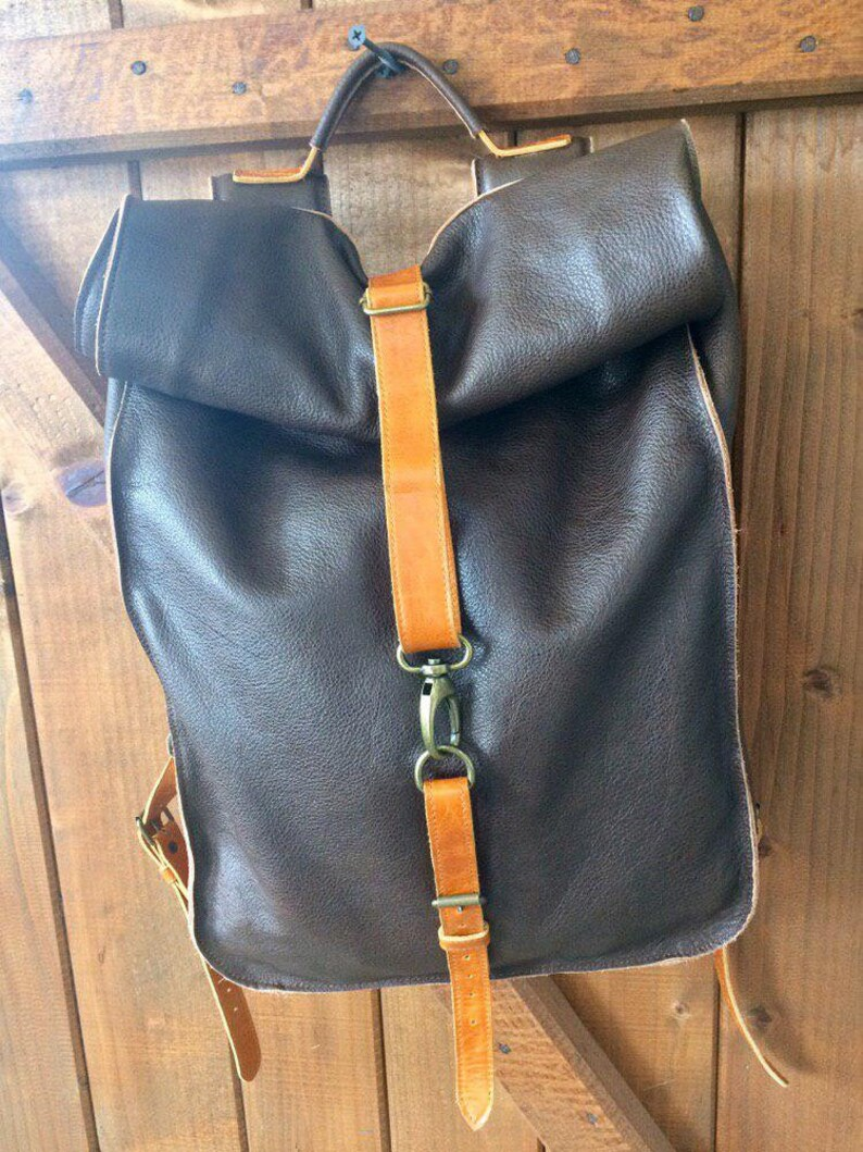 Leather Roll Top Backpack Full Grain Leather Bag Carry on Baggage Travel Backpack